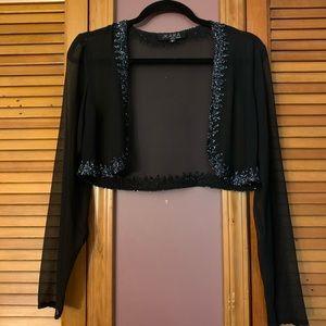 Black Sheer, Beaded Cropped Cardigan | M